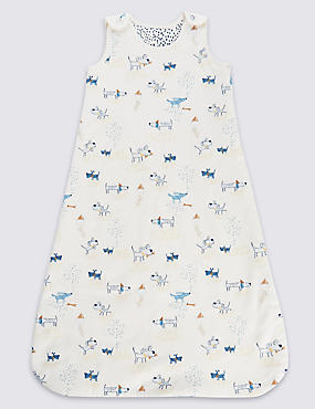 Pure Cotton Dog Print 2.2 Tog Sleeping Bag