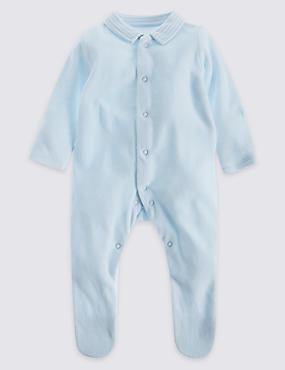 2 Pack Collared Velour Sleepsuit