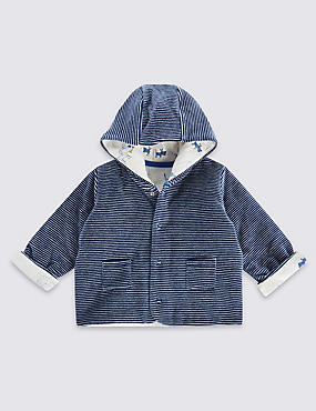 Cotton Rich Hooded Velour Striped Jacket
