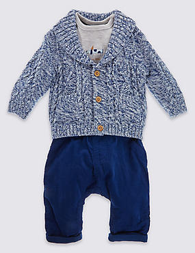 3 Piece Cardigan T-Shirt and Trouser Set