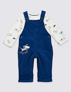 2 Piece Pure Cotton Applique Dungaree & Bodysuit Outfit