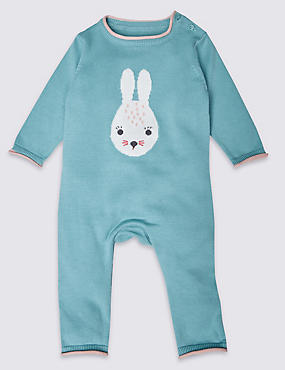 Pure Cotton Knitted Bunny All in One Outfit
