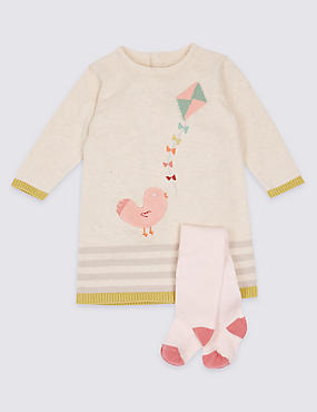 2 Piece Knitted Baby Dress with Tights, PINK MIX, catlanding