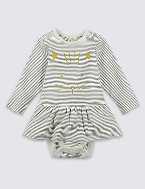 Pure Cotton Cat Face Body Dress