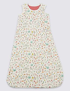 Pure Cotton All Over Print 2.1 Tog Sleeping Bag, MULTI, catlanding