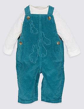 Pure Cotton Peter Rabbit™ Bodysuit & Dungarees Outfit, TEAL MIX, catlanding