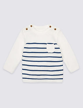 Pure Cotton Striped Jumper
