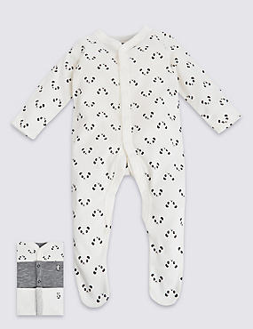 3 Pack Pure Cotton Panda Sleepsuit
