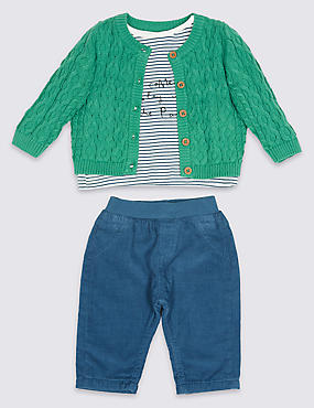 3 Piece Cardigan & Top with Trousers Outfit