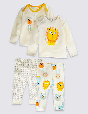 2 Pack Pure Cotton Lion Pyjamas Set