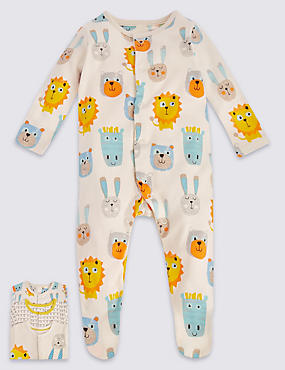 3 Pack Pure Cotton Lion Print Sleepsuits