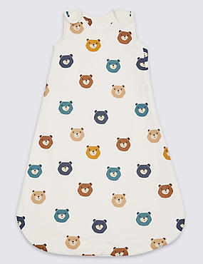 Pure Cotton Teddy Print 1.5 Tog Sleeping Bag