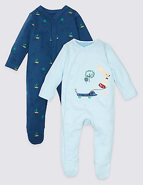 2 Pack Applique Pure Cotton Sleepsuits