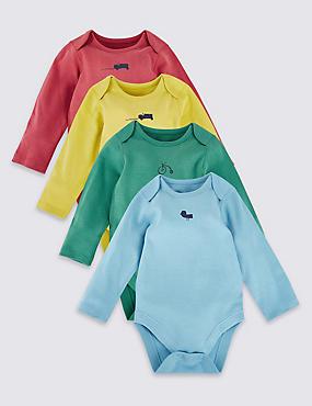 4 Pack Pure Cotton Bodysuits, MULTI, catlanding