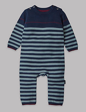 Pure Cotton Stripe Knit All-in-One