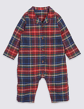 Pure Cotton Checked Romper