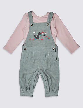 2 Piece Pure Cotton Cord Dungaree Outfit