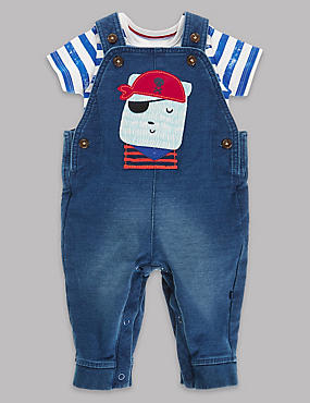 2 Piece Cotton Rich Applique Dungaree Outfit
