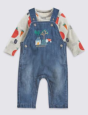 2 Piece Tractor Dungaree and All Over Print Bodysuit Outfit