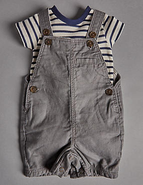 2 Piece Cotton Rich Striped Bodysuit & Bibshort Dungaree Outfit