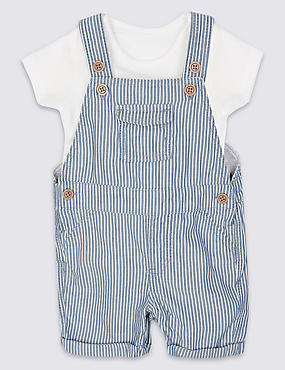 2 Piece Pure Cotton Bodysuit & Bib Shorts Outfit