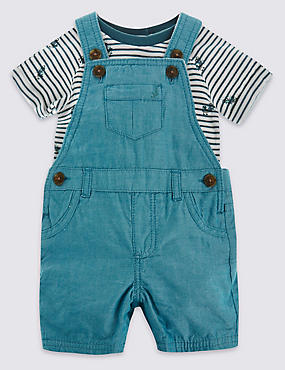 2 Piece Pure Cotton Bodysuit & Bibshort Dungaree Outfit