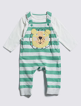 2 Piece Pure Cotton Lion Appliqué Dungaree & T-Shirt Outfit