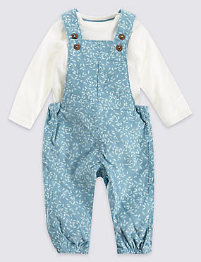 Cord All Over Print Dungaree and Bodysuit Outfit