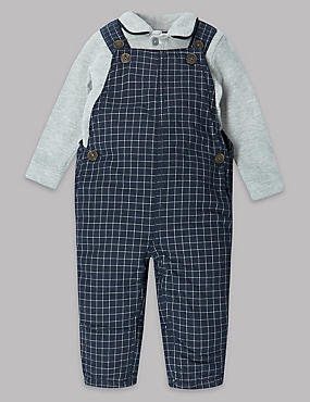 2 Piece Pure Cotton Checked Dungarees Outfit
