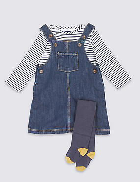 3 Piece Bodysuit & Denim Pinny with Tights Outfit
