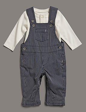 2 Piece Pure Cotton Dungaree & Bodysuit Outfit