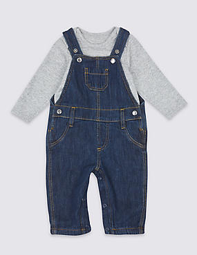 2 Piece Denim Dungarees & Bodysuit Outfit, DARK DENIM, catlanding