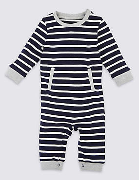 Pure Cotton Rib Stripe All in One