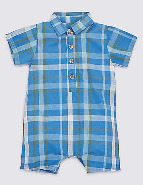 Pure Cotton Checked Woven Romper