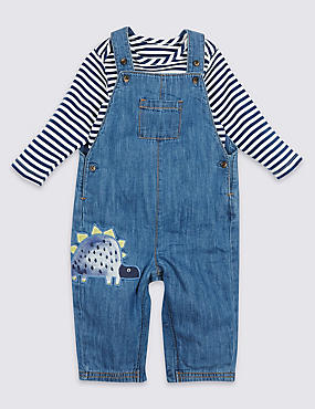 2 Piece Bodysuit with Dungarees Outfit, DENIM, catlanding