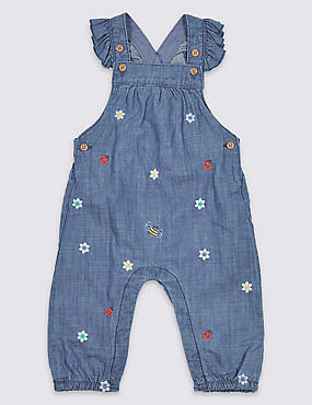 Pure Cotton Chambray Dungarees, DENIM, catlanding