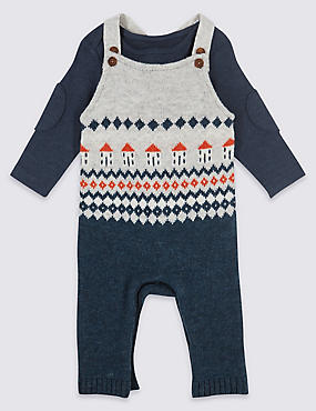 2 Piece Fairisle Knitted Dungarees & Bodysuit