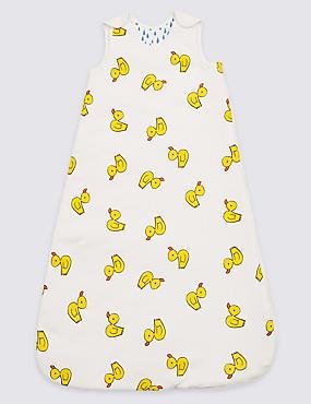 Pure Cotton 2.1 Tog Duck Print Sleeping Bag, WHITE MIX, catlanding