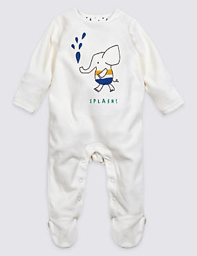 Cotton Rich Bath Time Velour Hanging Sleepsuit