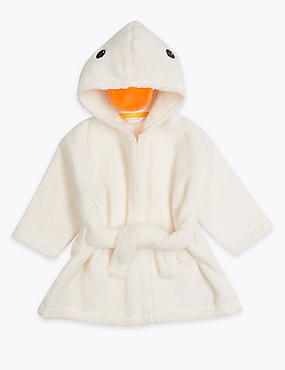 Bathtime Duck Hooded Robe, WHITE MIX, catlanding