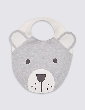 Pure Cotton Bear Applique Bib