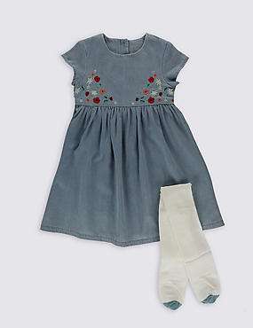2 Piece Denim Dress with Tights