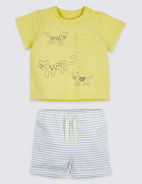 2 Piece Leopard Jersey Top & Shorts Outfit, ACID YELLOW, catlanding