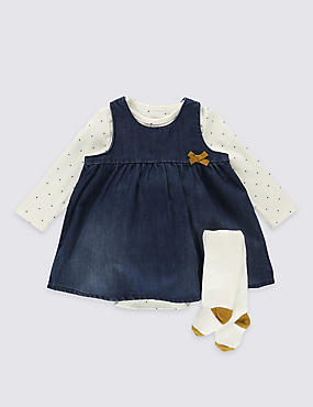 3 Piece Denim Pinny & Bodysuit with Tights
