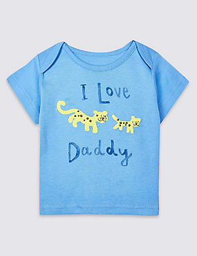 Pure Cotton I Love Daddy Top, BLUE, catlanding