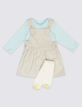 3 Piece Baby Pinny & Bodysuit with Tights