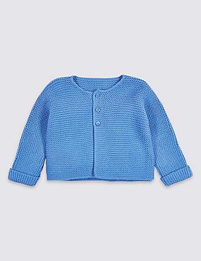 Pure Cotton Lightweight Knitted Cardigan, BLUE, catlanding
