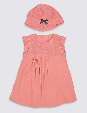 2 Piece Floral Lace Dress with Hat