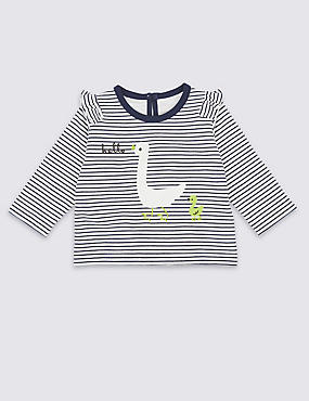 Pure Cotton Striped Sweatshirt