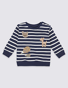 Pure Cotton Striped Applique Sweatshirt